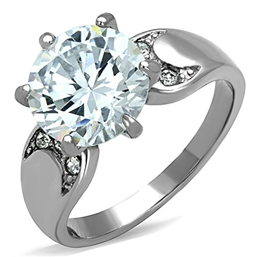 Stainless Steel High Polished 3.9Ct Round Cut Zirconia Engagement Ring Size 6 ()
