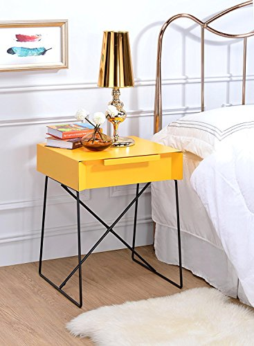 Major-Q Retro Styled Side Table with Metal Base for Bedroom/Living room/Game room, Yellow Finish 18 x 15 x 22 by Major-Q (Image #5)