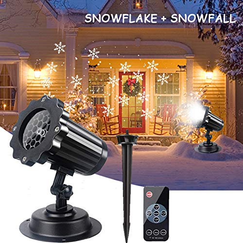 Valentines Day Projector Lights Snowflake Decorative Rotating Snowfall Projection Lamp Remote Timer 4 Modes LED Landscape Projector for Valentines Day Party Holiday Birthday (Snowflake+Snowfall)