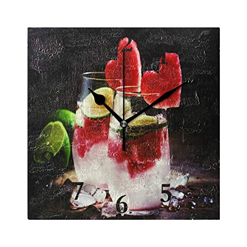 FunnyCustom Square Wall Clock Valentine's Day with Red Love Fruit 7.8 Inch Creative Decorative for Living ()