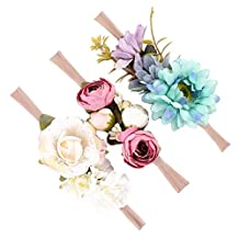 Dovewill 3pcs Baby Kids Girls Artificial Flower Hairband Headband Dress Up Head Band - Style 3, as described