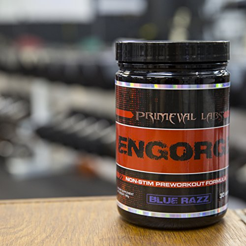 Primeval Labs Engorge - Non Stimulating Pre-Workout Formula - Utilizes Citrulline Malate for Energy, Strength, and Endurance - Supports Cognitive Function, Cell Growth, and Recovery - Blue Razz