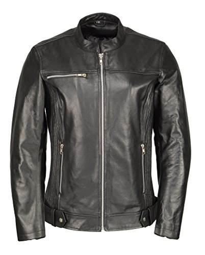 Ladies Armored Leather Jacket w/Accordion Panels-Black-L (Jacket Leather Boss)