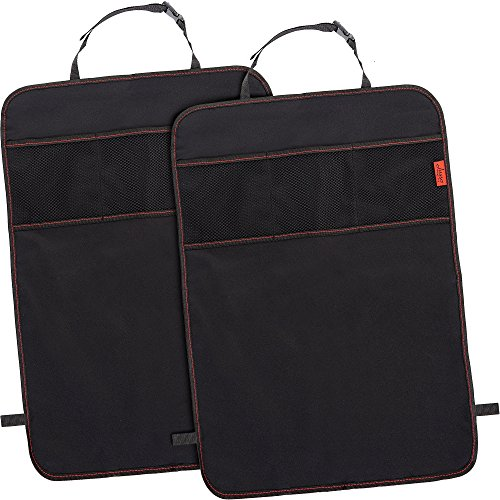 Lusso Gear Seat Back Protectors (2 Pack) - Car Kick Mats with Odor Free, Premium Waterproof Fabric, Reinforced Corners to Prevent Sag, and 3 Mesh Pockets for Great Storage