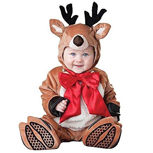 GoldBucket Unisex Baby Romper Bodysuit Jumpsuit Costume (80 6-12 mmonths, Reindeer) -