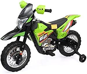 TOBBI Kids Ride On Motorcycle with Auxiliary Wheel Dirt Bike 6V Battery Powered Electric Toy Green