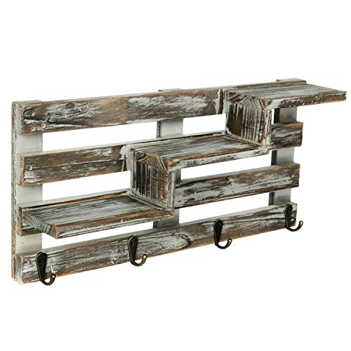 MyGift Rustic Torched Wood Wall Mounted Entryway Organizer Display Shelf Rack with 4 Key Hooks by MyGift (Image #3)