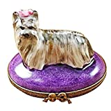 YORKSHIRE DOG TERRIER - LIMOGES PORCELAIN FIGURINE BOXES AUTHENTIC IMPORTS