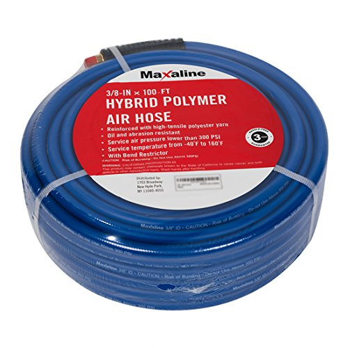 100FT 3/8inch Hybrid Polymer Air Hose, 1/4in. MNPT Brass Ends fittings, 300 PSI,Non-Kinking, Lightweight and Soft,Compressor Hose Blue (Premium Quality Air Hose Polyurethane)