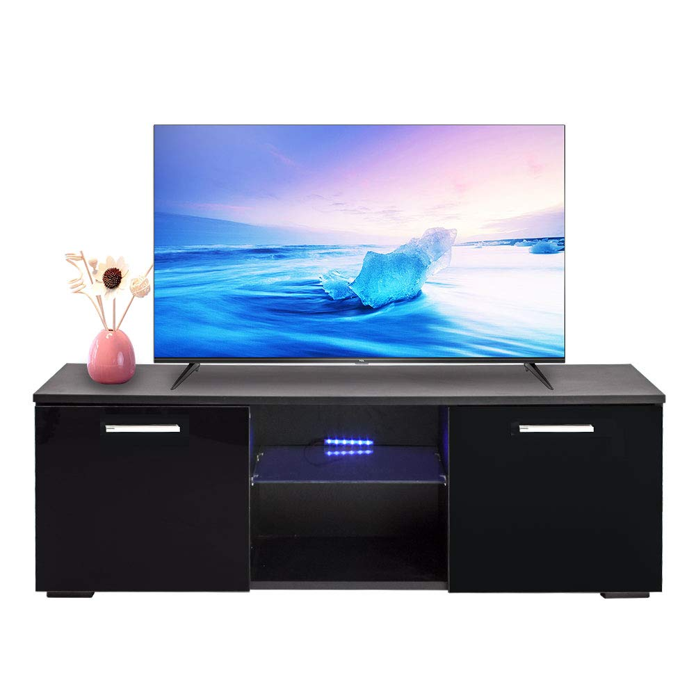 Alpha Conception Modern Black TV Stand Cabinet, Home 2 Drawers High Gloss LED Console Furniture for Up to 47-inch TV Screen