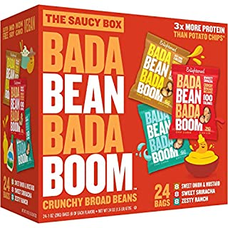 Bada Bean Bada Boom - Plant-Based Protein, Gluten Free, Vegan, Crunchy Roasted Broad (Fava) Bean Snacks, 100 Calories per Serving, Saucy Box, 1 oz, 24 Pack
