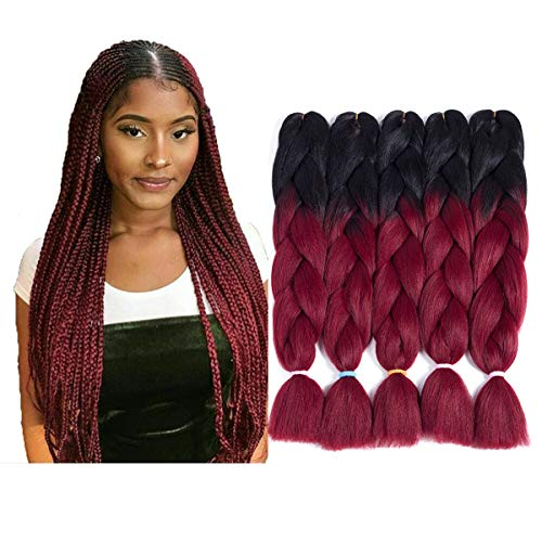 LOSMOEER Ombre Jumbo Braid Hair Extension For Braids Afro Twist Hair Jumbo Braiding Crochet Box Hair For Women 24Inch 5 Pcs/Lot (2 Tone Ombre Black to Burgundy)