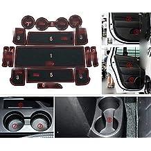 Highitem 15pcs Fullset Non-slip Interior Door Mats Pad Gate For Jeep Compass Patriot 2011-2016 (Red)