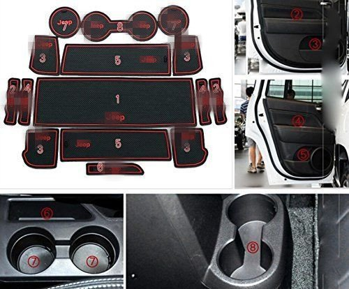 Price comparison product image Highitem 15pcs Fullset Non-slip Interior Door Mats Pad Gate For Jeep Compass Patriot 2011-2016 (Red)