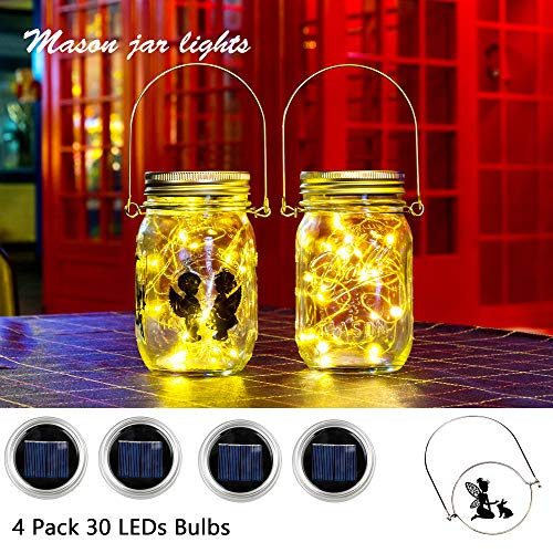 Flow.month Solar Mason Jar Lid Light(Handle/Fairy Sticker Included),4 Pack 30Led String Fairy Lights, Decor Idea for Mason Jar,Patio Garden Solar Fairy Laterns Table Lights(No Jars)