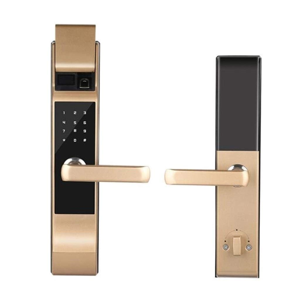 QINHAOJIE Door Lock,Electronic Locks,Touch Lock,Fingerprint Touchscreen Keyless Door Lock with OLED Display (Color : Brass)