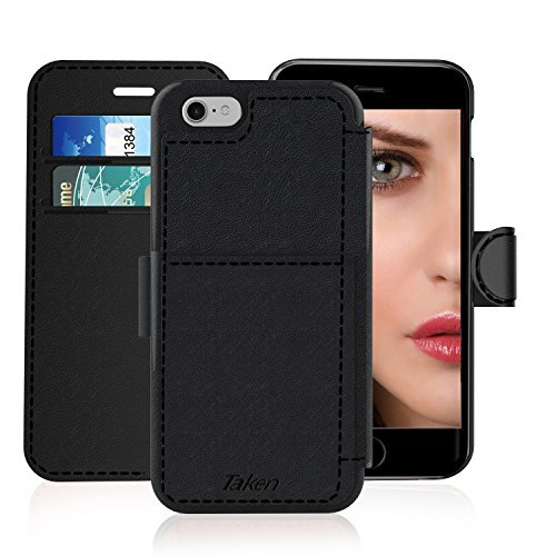 iPhone 6/6S Leather Wallet Case with Cards Slot and Metal Magnetic, Slim Fit and Heavy Duty, TAKEN Plastic Flip Case/Cover with Rubber Edge, Gift for Women, Men, Boys, Girls, 4.7 Inch (Black)