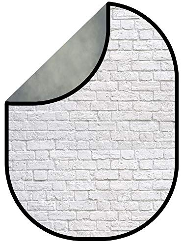 Kate 5x6.5ft(1.5x2m) Double-Sided Backdrop Dark Grey Texture White Brick Wall Collapsible Backgrounds Twist Flex Double Sided Photography Backdrop
