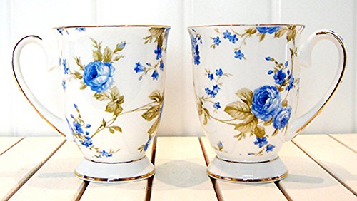 Moyishi Royal 300ml Blue Rose Chintz Porcelain Footed Mug Assorted with Gold Trim 1 PC Christmas Birthday Best Gift