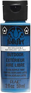 product image for FolkArt Outdoor Acrylic Paint in Assorted Colors (2 Ounce), 2472 Cerulean Blue