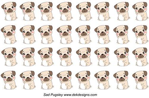 Pugsly Sad Sticker Sheet, printed on matte sticker paper or Matte Vinyl Sticker Paper. Kiss cut, just peel and stick.