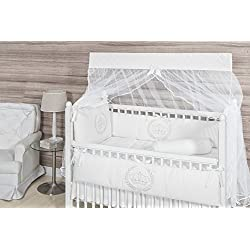 Crown Themed White Baby Boy/Girl 10 Pcs Nursery Crib Bedding Set Embroidered