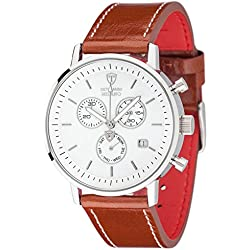 DETOMASO Men's DT1052-G MILANO Chronograph Classic weiss/braun Analog Display Swiss Quartz Brown Watch