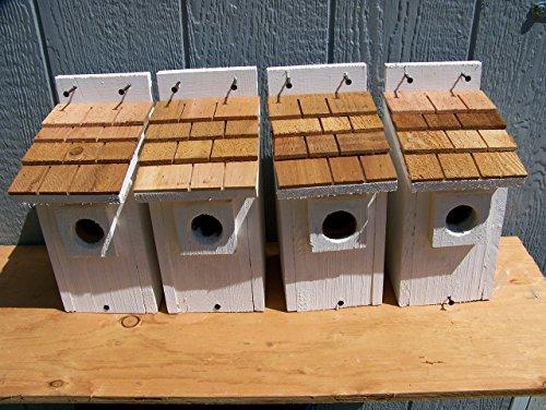 4 White Bluebird Houses with cedar shake roof... 4 houses handmade by Cedarnest