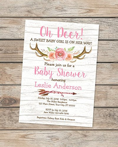 amazon com rustic baby shower invitations oh deer baby shower