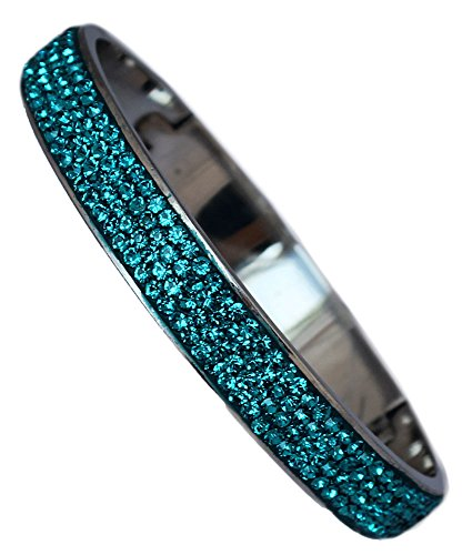 Green Rhinestone Bangle - Sophistikitty Hinged Bangle: with 4 Rows of Beautiful Sparkly Crystals - Aqua - 10mm in Width