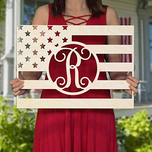 (SALE 20-36 inch Rectangle FLAG Wooden Monogram - Independence Day - USA - personalized custom wall hanging gifts - 4th of July - bbq - summer decor -)