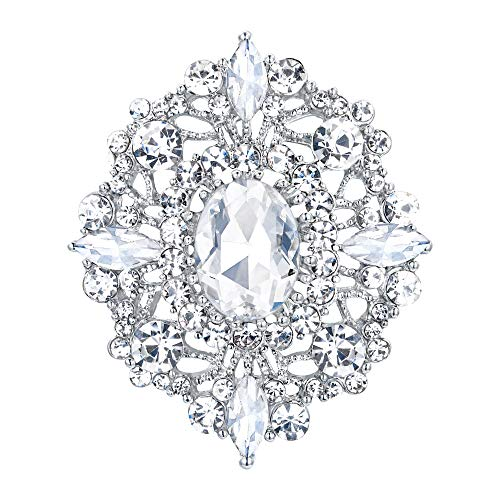 EVER FAITH Women's Oval w/Marquise Crystal Elegant Bridal Boho Banquet Flower Brooch Clear Silver-Tone