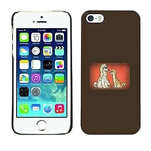 TECHCASE**Cubierta de la caja de protección la piel dura para el ** Apple iPhone 5 / 5S ** Dogs Couple Love Cartoon Fairytale Drawing