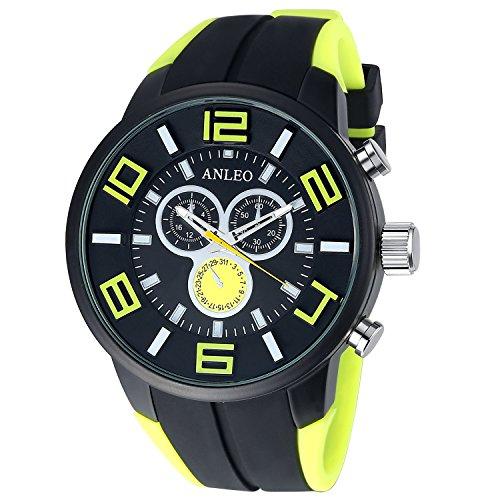 Anleowatch 1PCS Yellow Watch Casual Quartz Watch Men Women Unisex Military Watches Sport Wristwatch
