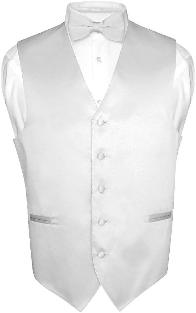 Mens Medium Tall Formal Tuxedo Silver Grey Vest Matching Long Tie Wedding Set