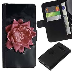 KLONGSHOP // Tirón de la caja Cartera de cuero con ranuras para tarjetas - Rosa Rosa - Samsung Galaxy Core Prime //