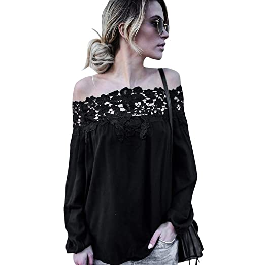 b5018cf298b71 HGWXX7 Women s Sexy Off Shoulder Lace Long Sleeve Casual Blouse T Shirt  Tops at Amazon Women s Clothing store