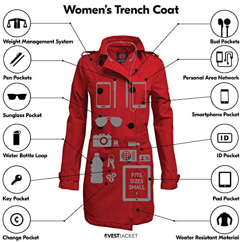 SCOTTeVEST Women's Trench Coat - Travel Clothing, Trench & Rain Coats for Women (PRW S)