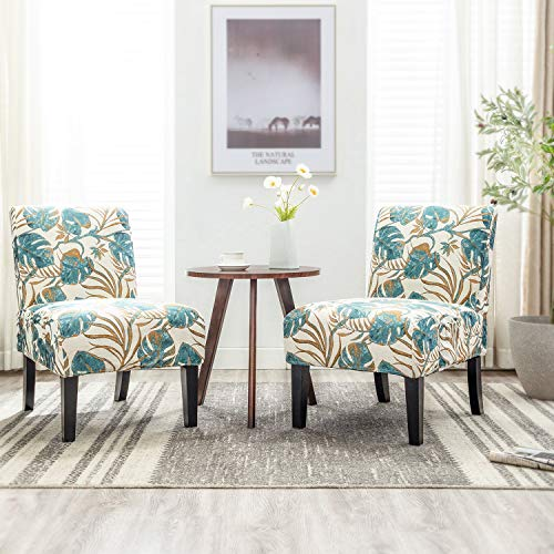 Altrobene Armless Jacquard Fabric Accent Chairs Set of 2 Living Room Office Reception Side Chairs with 4PCS Removable Washable Slipcovers (Beige&Floral&Blue)