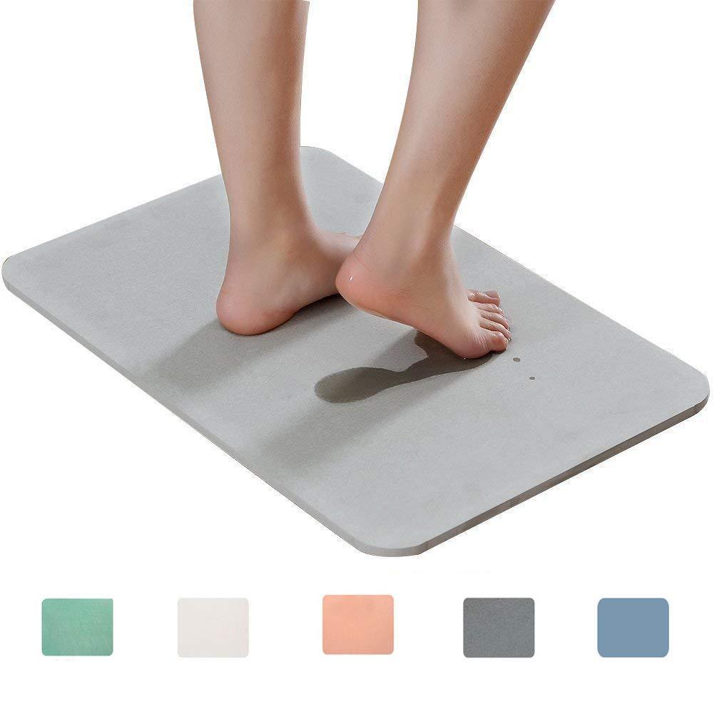Marbrasse Bath Mat, Absorbent Diatomaceous Earth, Japanese Design, Nonslip Bathroom Floor Mats for Fast Water Drying, Self-Refreshing Hard Shower Mat (Grey)