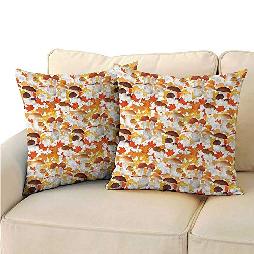 (WinfreyDecor Vegetables Personalized Pillowcase Autumn Mushrooms Supper Protect The Waist W13 x L13)