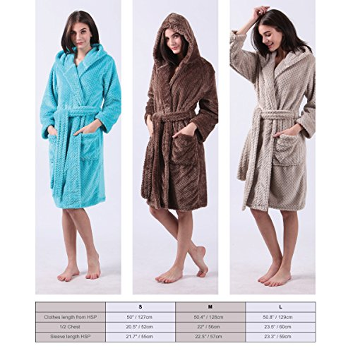 ALL AOER Hooded Sleepwear & Loung Ladies Robes - Womens Microfiber Bathrobe - Lightweight Fluffy