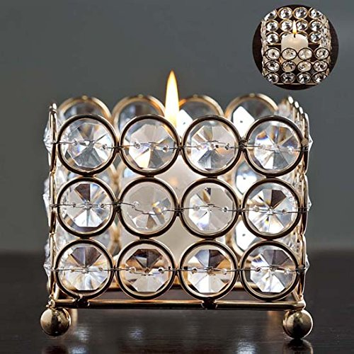 "Tableclothsfactory Gold Illuminating Square Votive Tealight Wedding Crystal Candle Holder - 3.25"" W x 3.25"" L x 2.5"" H"