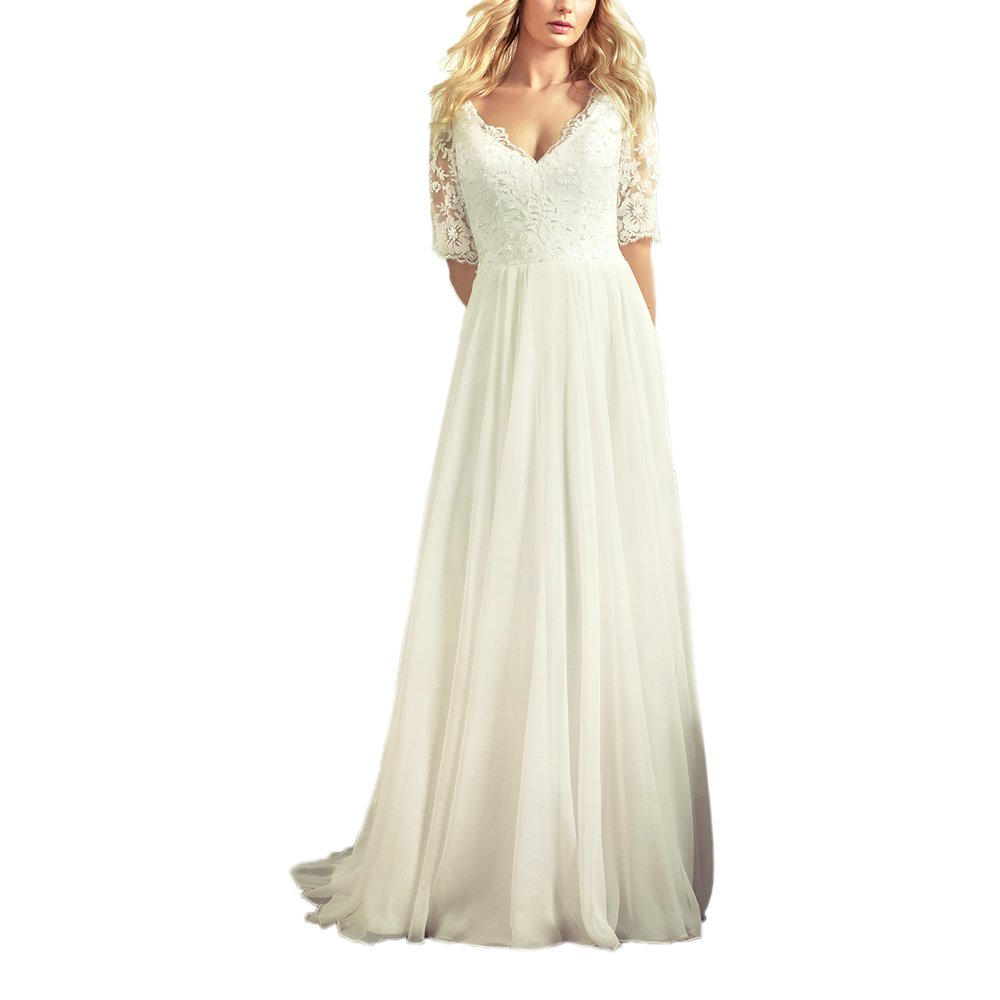 a1d1fb5ed ABaowedding Women's Bridal Ball V-Neck Lace Chiffon Half Sleeve Modest Wedding  Dress