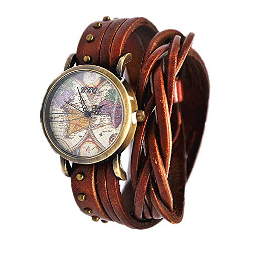 MINILUJIA Bohemian Style Analog Quartz Watch Double Wrap Word Map Women Grils Watch Vintage Retro Casual Leather Watch (Map Watches)