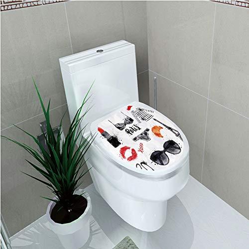 Toilet Cover Sticker,Paris City Decor,Various Symbols of Eiffel
