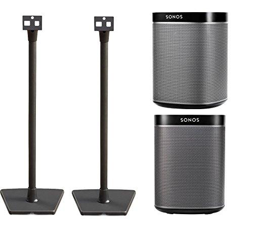 Sonos PLAY:1 (Black, Pair) Multi-Room Digital Music System Bundle with Sanus WSS2B1 Black Speaker Stands (1 Pair)