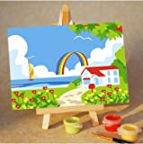 Colour Talk Diy oil painting, paint by number kits for kids - Rainbow 20X30cm.