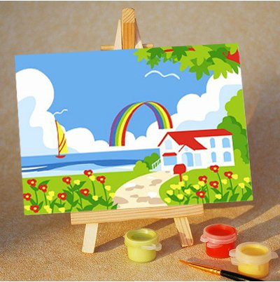 Diy oil painting, paint by number kits for kids – Rainbow 20X30cm.