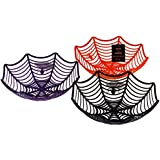 Set Of 3 Large Halloween Spiders Web Novelty Party Dishes - Orange Black Purple by DP